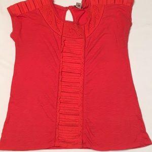 Lucky Brand Cap sleeve shirt coral